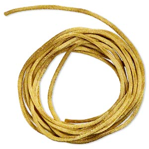 cord, satinique™, satin, antique gold, 2mm regular. sold per pkg of 10 feet.