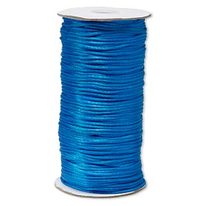 cord, satinique™, satin, dark turquoise blue, 2mm regular. sold per 400-foot spool.