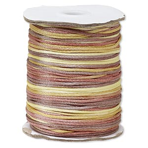 cord, satinique™, satin, falling leaves, 1.5mm small. sold per 400-foot spool.