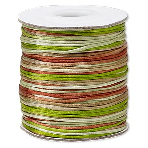 cord, satinique™, satin, forest, 1mm mini. sold per 200-foot spool.