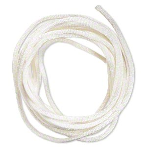 cord, satinique™, satin, ivory, 2mm regular. sold per pkg of 10 feet.