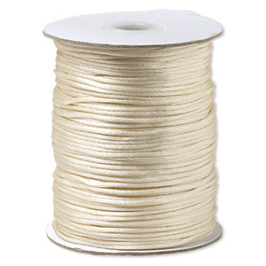 cord, satinique™, satin, light beige, 1.5mm small. sold per 400-foot spool.