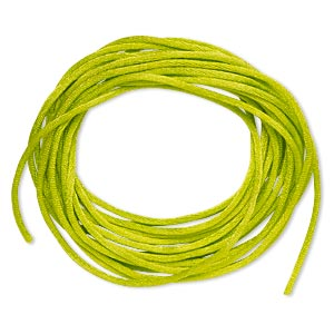 cord, satinique™, satin, lime green, 1.5mm small. sold per pkg of 10 feet.