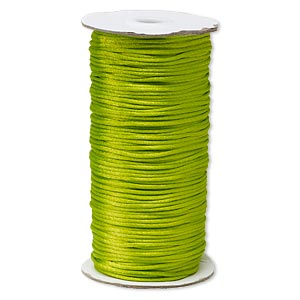 cord, satinique™, satin, lime green, 2mm regular. sold per 400-foot spool.