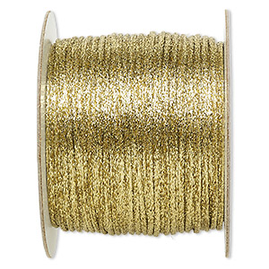 cord, satinique™, satin, metallic gold, 2mm. sold per 432-foot spool.