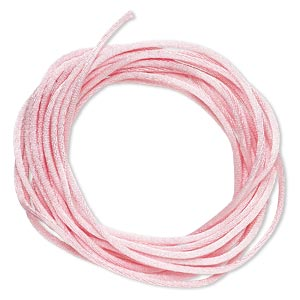 cord, satinique™, satin, pink, 1.5mm small. sold per pkg of 10 feet.
