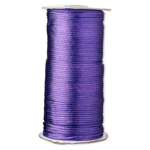 cord, satinique™, satin, purple, 2mm regular. sold per 400-foot spool.