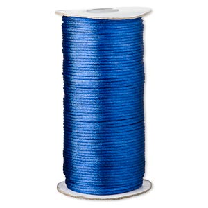 cord, satinique™, satin, royal blue, 2mm regular. sold per 400-foot spool.