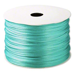 cord, satinique™, satin, sea foam green, 1.5mm small. sold per 400-foot spool.
