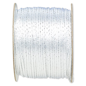 cord, satinique™, satin, white and metallic silver, 2mm. sold per 432-foot spool.