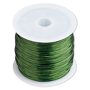cord, stretch, elastic floss, green, 0.5mm diameter. sold per 75-meter spool, approximately 246 feet.
