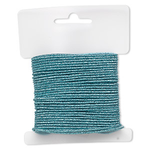 cord, stretch, polyester and elastic, turquoise blue with glitter, 1.5mm diameter. sold per 10-yard card.