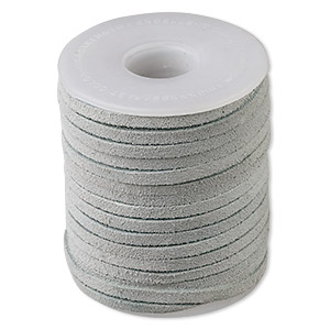 cord, suede lace (dyed), grey, 3-4mm. sold per 25-yard spool.