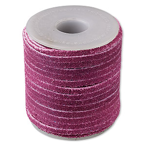 cord, suede lace (dyed), purple, 3-4mm. sold per 25-yard spool.