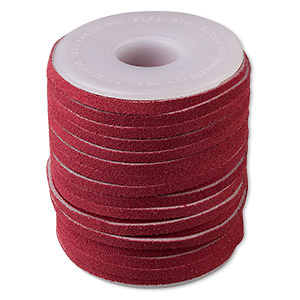 cord, suede lace (dyed), red, 3-4mm. sold per 25-yard spool.