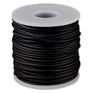 cord, synthetic rubber, black, 2mm round. sold per pkg of 25 meters (82 feet).