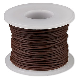 cord, synthetic rubber, brown, 1mm round. sold per pkg of 25 meters (82 feet).