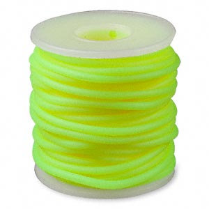 cord, synthetic rubber, fluorescent yellow, 3mm round. sold per pkg of 10 meters (32.8 feet).
