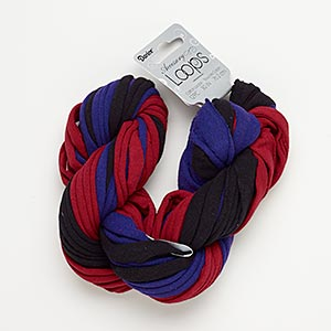 cord, tee shirt, cotton and silver-finished steel, black / burgundy / purple, 20-24mm wide with 44mm ring, 30-inch continuous loop. sold per pkg of 12.