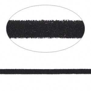 cord, velveteen and rubber, black, 2mm round with 0.45-1mm hole. sold per pkg of 5 feet.