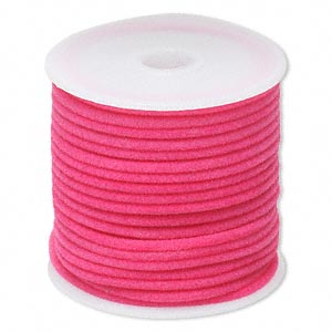 cord, velveteen and rubber, pink, 2mm round with 0.45-1mm hole. sold per 25-foot spool.