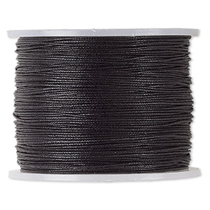 cord, waxed cotton, black, 0.5mm. sold per 100-meter spool.