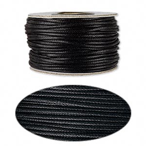 cord, waxed cotton, black, 2mm round. sold per 25-yard spool.