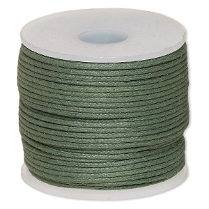 cord, waxed cotton, dark green, 1mm. sold per 25-meter spool.