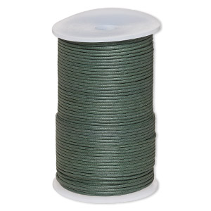 cord, waxed cotton, dark green, 2mm. sold per 100-meter spool.