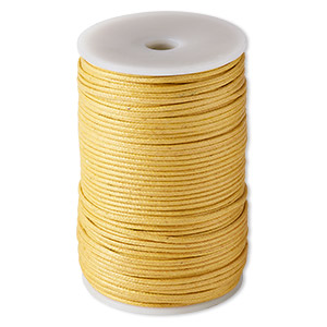 cord, waxed cotton, gold, 2mm. sold per 100-meter spool.