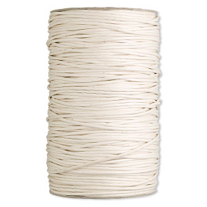 cord, waxed cotton, ivory, 3mm round. sold per 300-yard spool.