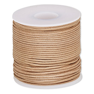 cord, waxed cotton, light brown, 0.5mm. sold per 25-meter spool.