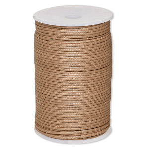 cord, waxed cotton, light brown, 2mm. sold per 100-meter spool.