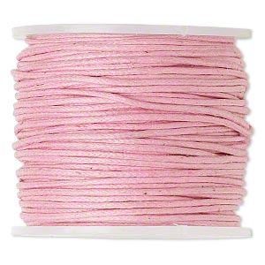 cord, waxed cotton, light pink, 1mm. sold per 25-meter spool.