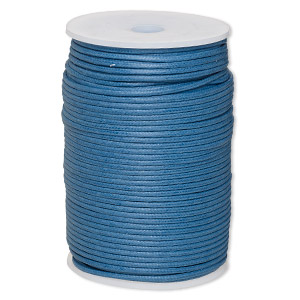 cord, waxed cotton, medium blue, 2mm. sold per 100-meter spool.