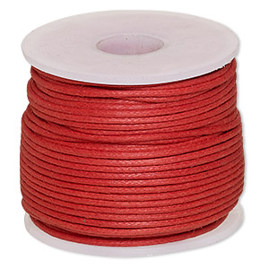 cord, waxed cotton, red, 1mm. sold per 25-meter spool.