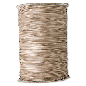 cord, waxed cotton, tan, 1mm round. sold per 1,000-yard spool.
