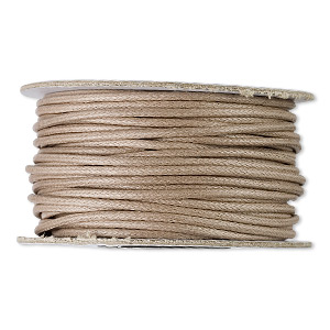 cord, waxed cotton, tan, 2mm round. sold per 25-yard spool.