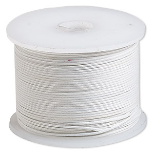 cord, waxed cotton, white, 0.5mm. sold per 100-meter spool.
