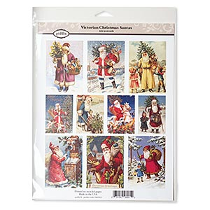 crafting paper, piddix, matte multicolored, 11x8-1/2 inches with (4) 2-1/3 x 1-11/16 inch and (6) 3-1/4 x 2-1/3 inch single-sided rectangle with victorian christmas santas patterns. sold individually.