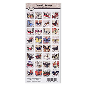 crafting paper, piddix, matte multicolored, 9-3/4 x 4-1/4 inches with (32) 7/8 x 7/8 inch single-sided square and butterfly postage patterns. sold individually.