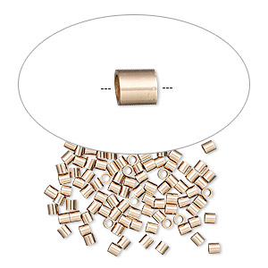 crimp, 14kt rose gold-filled, 2x2mm tube, 1.4mm inside diameter. sold per pkg of 10.