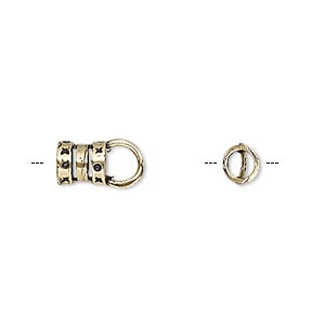crimp end, antique brass, 6.5x6mm tube with loop, 3.8mm inside diameter. sold per pkg of 2.