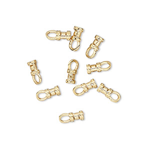 crimp end, gold-plated brass, 4.5x3mm tube with loop, 1.5mm inside diameter. sold per pkg of 10.