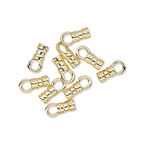 crimp end, gold-plated brass, 5.5x3.5mm tube with loop, 2mm inside diameter. sold per pkg of 10.