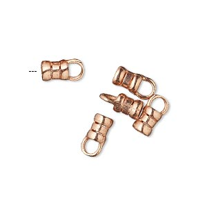 crimp end, jbb findings, copper-plated brass, 6x4mm tube with loop, 2.5mm inside diameter. sold per pkg of 4.