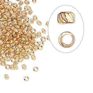 crimp, gold-plated brass, 2.5mm corrugated round, 1.2mm inside diameter. sold per pkg of 100.