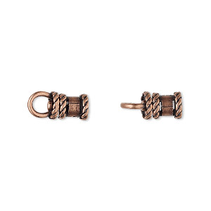 crimp, jbb findings, antique copper-plated brass, 8.5x6mm tube with swivel, loop and rope trim design, 3mm inside diameter. sold per pkg of 2.