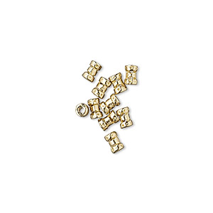 crimp, jbb findings, brass, 4x2.5mm tube, 1mm inside diameter. sold per pkg of 10.