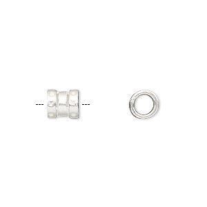 crimp, jbb findings, silver-plated brass, 7x6mm tube, 4mm inside diameter. sold per pkg of 4.